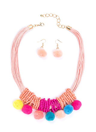 Pom-Pom Date Beaded Cord Necklace Set
