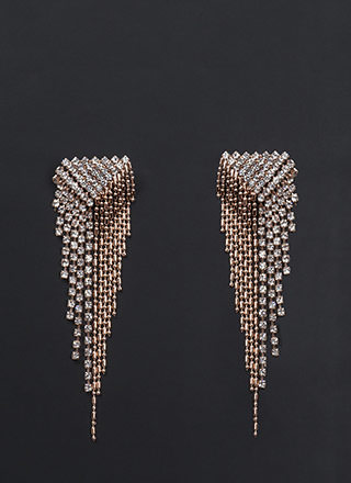 Glam Fame Rhinestone Fringe Earrings