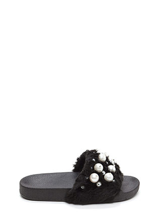 Fur Sure Faux Pearl Slide Sandals