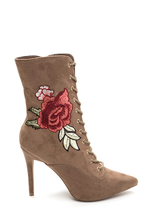 Ka-Bloom Pointy Lace-Up Booties