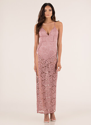 Romantic Goddess Sheer Lace Maxi Dress