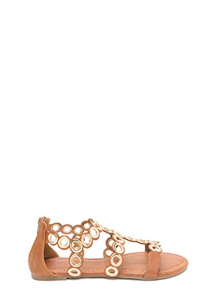 Ring To Light Caged Faux Leather Sandals
