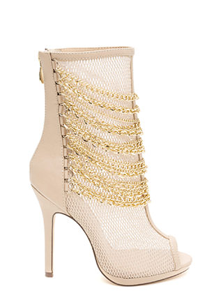 Chain Entrance Sheer Net Booties