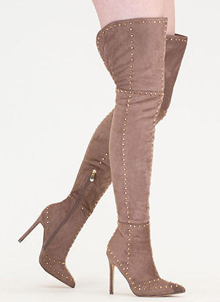 Mile After Mile Studded Thigh-High Boots