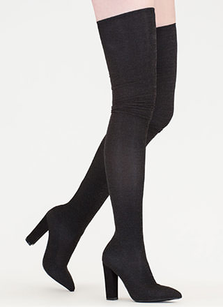 Hint Of Glint Pointy Thigh-High Boots