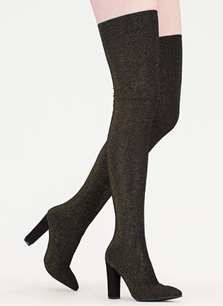 Hint Of Glint Metallic Thigh-High Boots