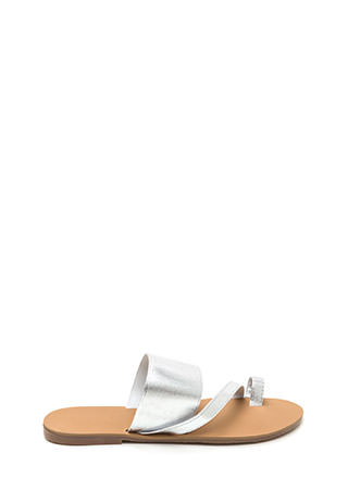 Next Step Strappy Metallic Slide Sandals