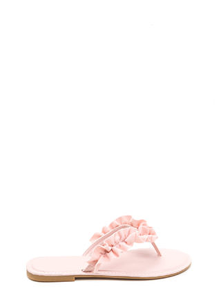 Romance Language Ruffled Thong Sandals