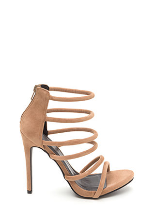 Six Tape Strappy Caged Faux Suede Heels
