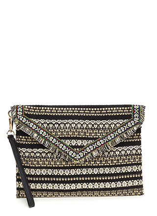Boho Vacay Flat Embroidered Clutch