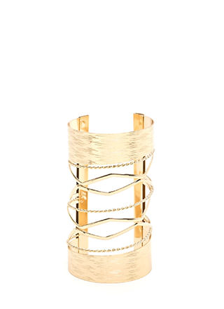 High Powered Glam Textured Caged Cuff