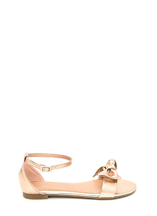 Bow For Gold Strappy Metallic Sandals
