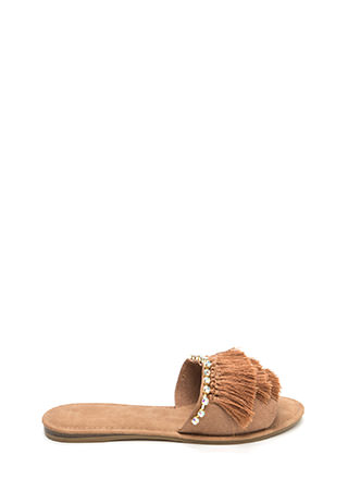 Fringe Frenzy Jeweled Slide Sandals