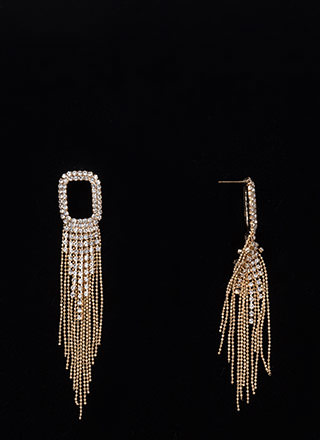Feeling Shine Rhinestone Fringe Earrings