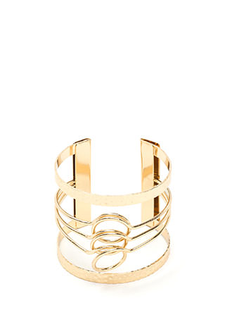 Triple Time Textured Caged Cuff