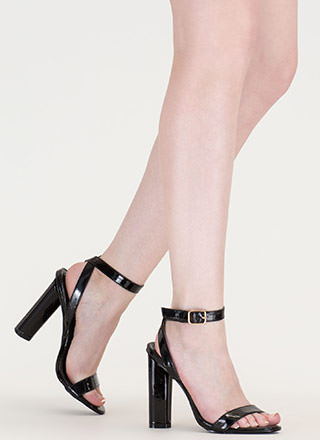 Tres Chic Strappy Faux Patent Heels
