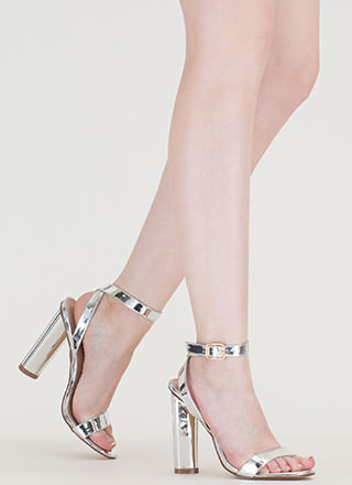 Tres Chic Strappy Metallic Heels