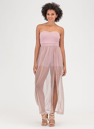 Sheer Brilliance Strapless Maxi Dress