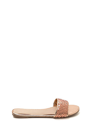 Style Icon Metallic Sequin Slide Sandals