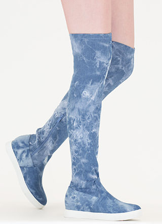 Go For It Denim Thigh-High Boots