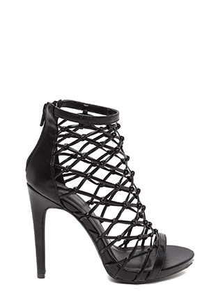Knot Over It Caged Faux Leather Heels