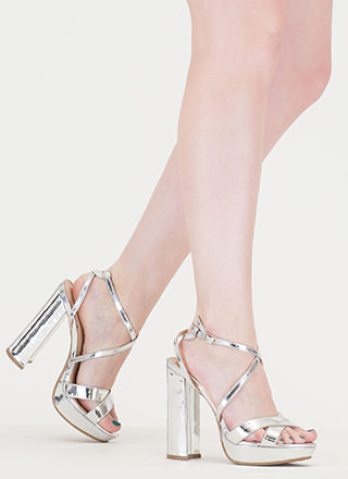 Gleam Big Chunky Platform Metallic Heels