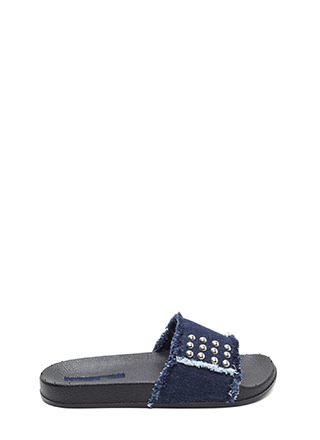 Fray It Forward Studded Denim Sandals