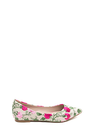 My Floral Lady Pointy Embroidered Flats