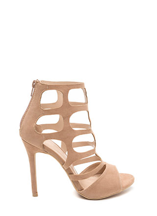 Cage Match Faux Suede Stiletto Heels