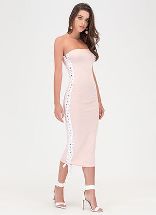 Laced The Game Slit Maxi Dress