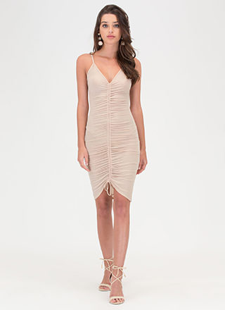In A Ruche Sheer Mesh Bodycon Dress