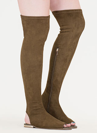 Cut Above Faux Suede Thigh-High Sandals