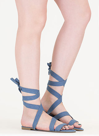 Tied And True Strappy Denim Sandals