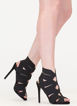 With The Bands Strappy Cut-Out Heels