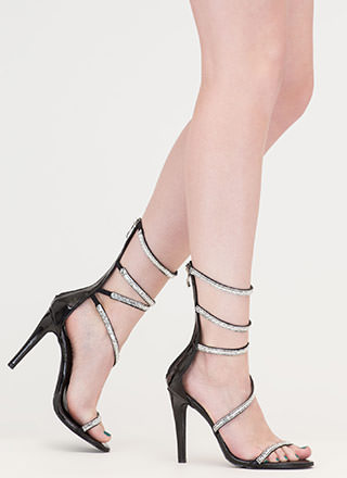 Strappy Life Jeweled Faux Leather Heels
