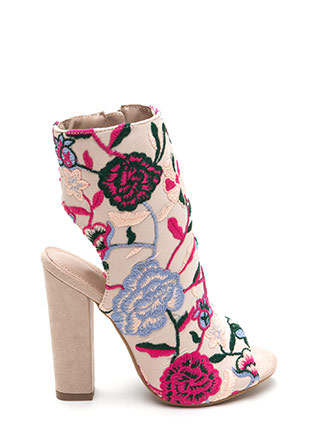 Bold Blooms Chunky Embroidered Booties