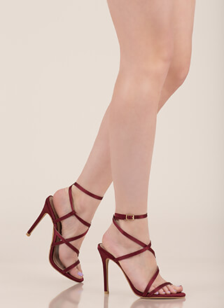 Strappy Happy Caged Satin Heels