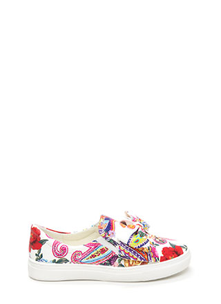 Be My Bow Floral Slip-On Sneakers