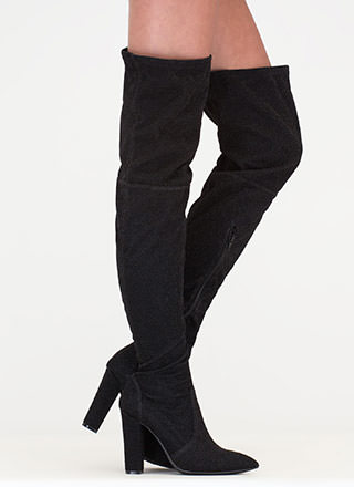 Effortless Glam Shiny Thigh-High Boots