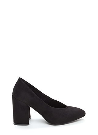 Point Blank Chunky Faux Suede Heels