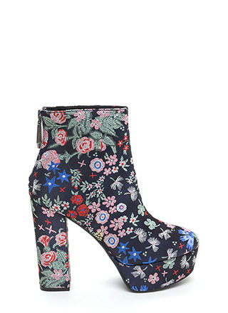 Flower Child Chunky Platform Booties