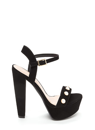 Luxe Touch Jeweled Faux Nubuck Heels