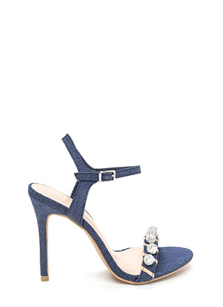 Disco Baby Strappy Denim Heels