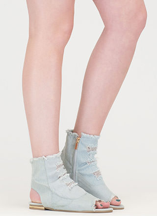Shred-y To Go Cut-Out Denim Sandals