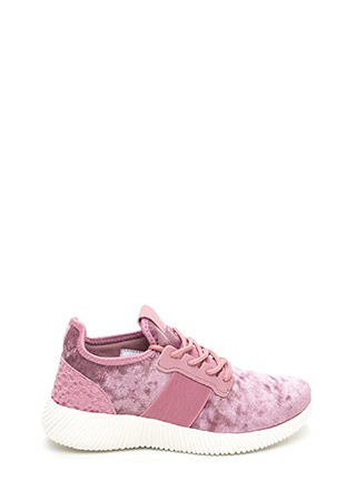 Serious Crush Velvet Lace-Up Sneakers