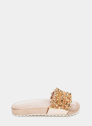 Glitz Lit Metallic Slide Sandals