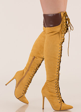 Statement Strut Lace-Up Thigh-High Boots
