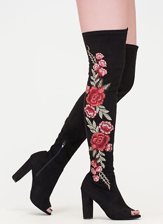Grow Along Chunky Thigh-High Boots