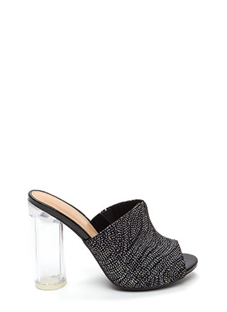 Do The Wave Glittery Chunky Mule Heels