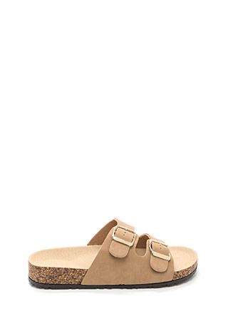 Buckled Up Faux Nubuck Slide Sandals